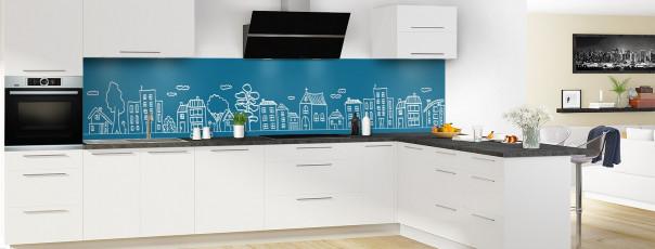 Crédence de cuisine Dessin de ville couleur bleu baltic panoramique en perspective