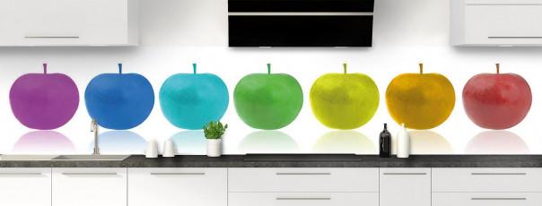 Crédence de cuisine Pommes multicouleurs panoramique motif inversé