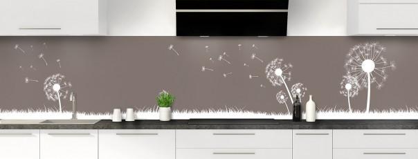 Crédence de cuisine Pissenlit au vent couleur taupe panoramique motif inversé