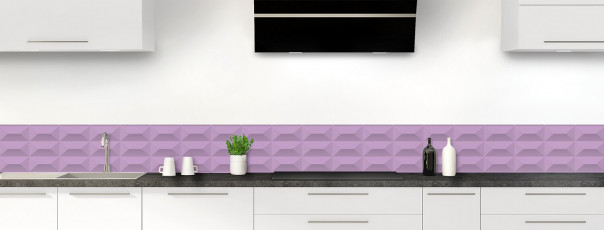 Crédence de cuisine Briques en relief couleur parme dosseret