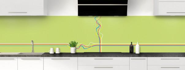 Crédence de cuisine Light painting couleur vert olive panoramique motif inversé