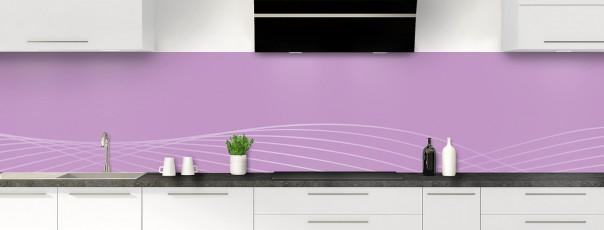Crédence de cuisine Courbes couleur parme panoramique motif inversé