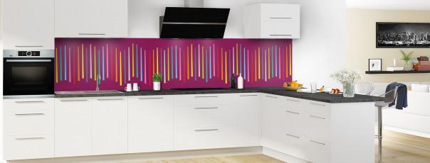 Crédence de cuisine Barres colorées couleur prune panoramique en perspective