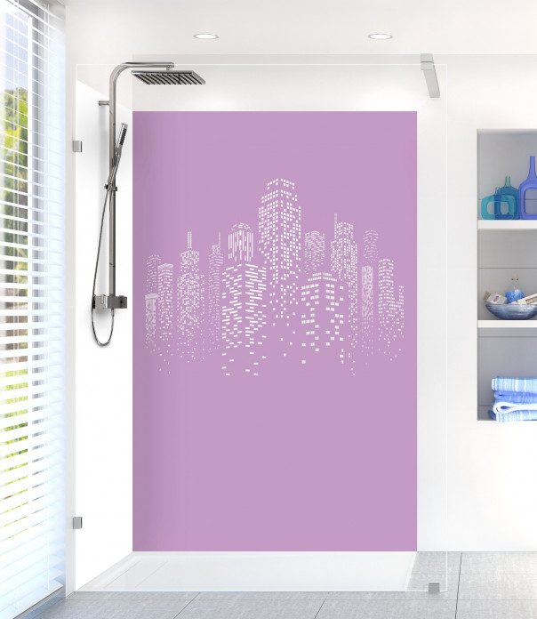 Panneau de douche Gratte-ciels couleur parme motif inversé