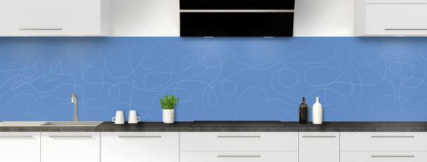 Crédence de cuisine Gribouillis couleur bleu lavande panoramique