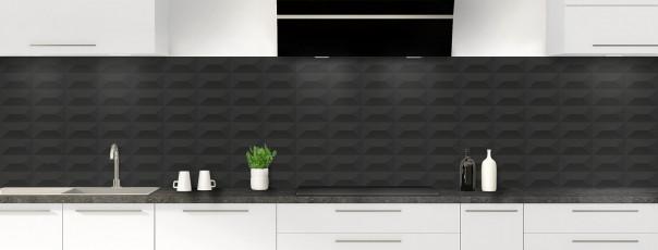 Crédence de cuisine Briques en relief couleur noir panoramique