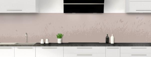 Crédence de cuisine Prairie et papillons couleur argile panoramique motif inversé