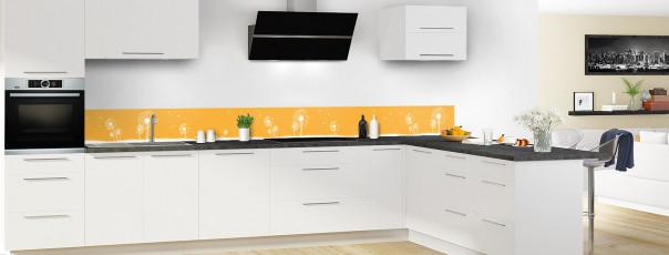 Crédence de cuisine Pissenlit au vent couleur abricot dosseret motif inversé en perspective