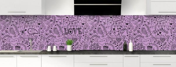 Crédence de cuisine Love illustration couleur parme panoramique