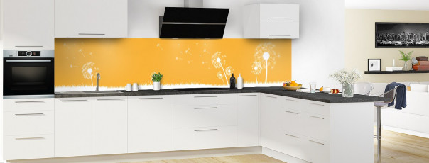 Crédence de cuisine Pissenlit au vent couleur abricot panoramique motif inversé en perspective