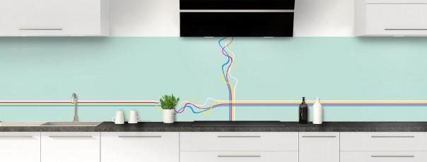 Crédence de cuisine Light painting couleur vert pastel panoramique motif inversé
