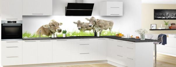 Crédence de cuisine Vaches panoramique en perspective