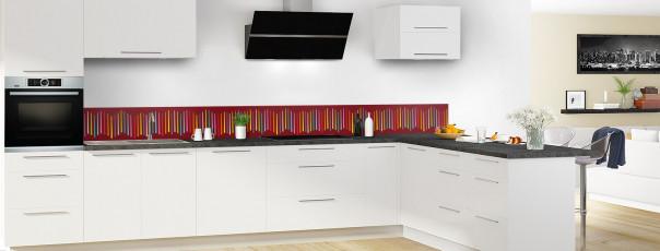 Crédence de cuisine Barres colorées couleur rouge pourpre dosseret en perspective