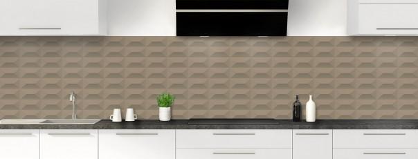 Crédence de cuisine Briques en relief couleur marron glacé panoramique