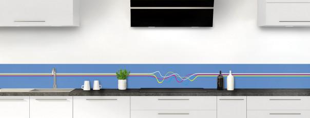 Crédence de cuisine Light painting couleur bleu lavande dosseret