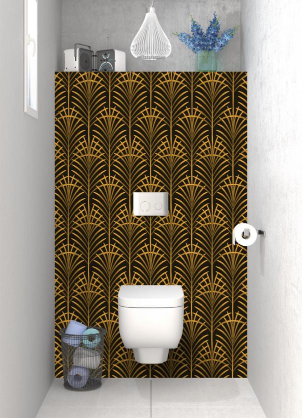 Panneau WC Feuilles de paume couleur abricot