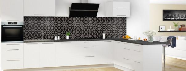 Crédence de cuisine Papier peint rétro couleur noir panoramique en perspective