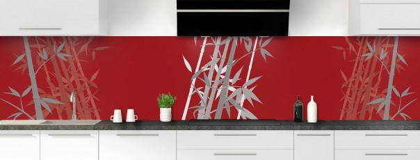 Crédence de cuisine Bambou zen couleur rouge carmin panoramique