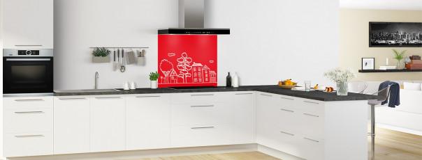 Crédence de cuisine Dessin de ville couleur rouge vif fond de hotte en perspective
