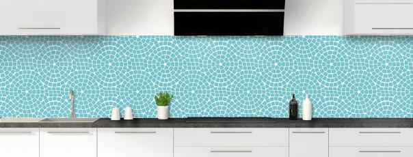 Crédence de cuisine Mosaïque cercles couleur bleu lagon panoramique