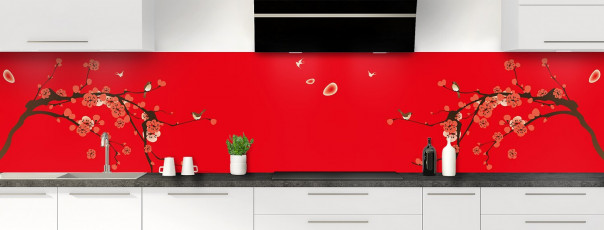 Crédence de cuisine Cerisier japonnais couleur rouge vif panoramique motif inversé
