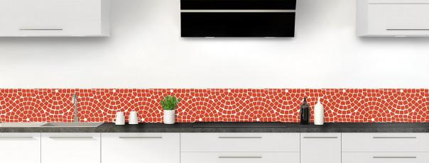 Crédence de cuisine Mosaïque cercles couleur rouge brique dosseret