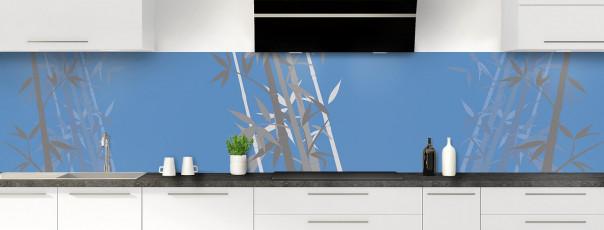 Crédence de cuisine Bambou zen couleur bleu lavande panoramique motif inversé