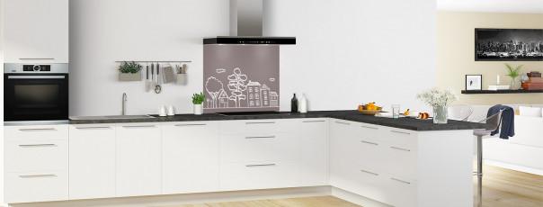 Crédence de cuisine Dessin de ville couleur taupe fond de hotte en perspective