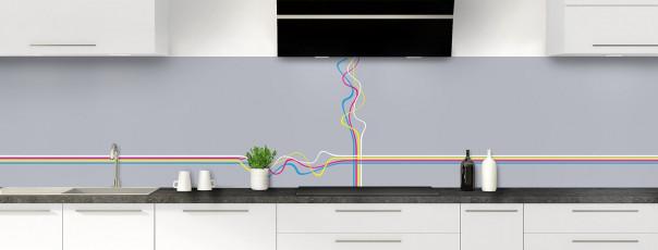 Crédence de cuisine Light painting couleur gris métal panoramique motif inversé