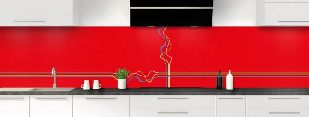 Crédence de cuisine Light painting couleur rouge vif panoramique motif inversé