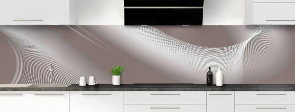 Crédence de cuisine Volute couleur taupe panoramique motif inversé
