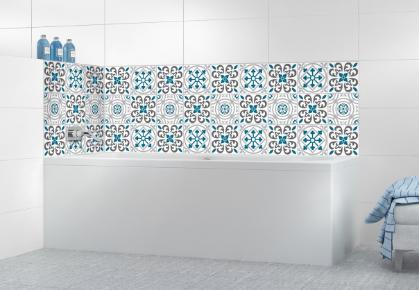 Panneau de bain Carreaux de ciment riad Bleu