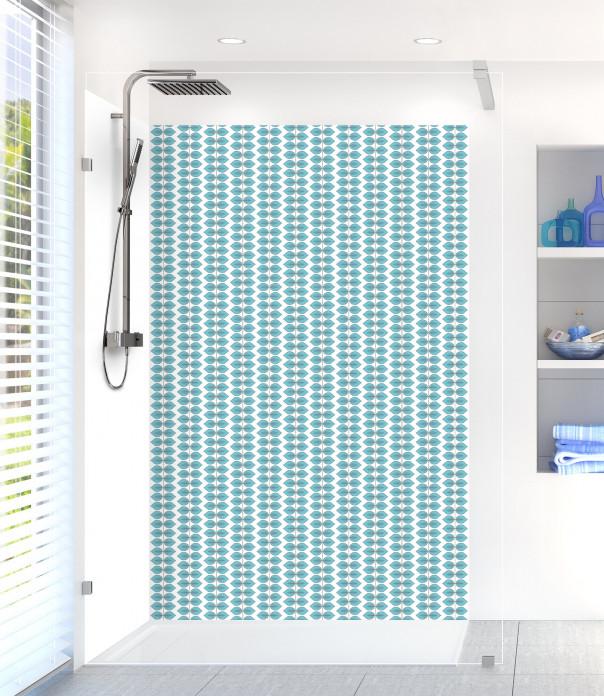 Panneau de douche Petites Feuilles  couleur bleu lagon