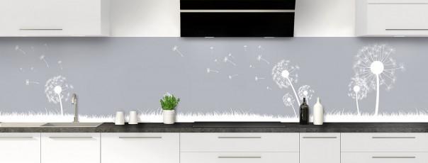 Crédence de cuisine Pissenlit au vent couleur gris métal panoramique motif inversé