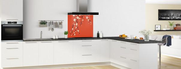 Crédence de cuisine Arbre fleuri couleur rouge brique fond de hotte motif inversé en perspective