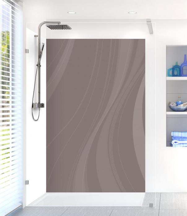 Panneau de douche Voilage couleur taupe motif inversé