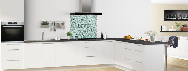 Crédence de cuisine Love illustration couleur vert pastel fond de hotte en perspective