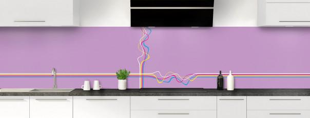 Crédence de cuisine Light painting couleur parme panoramique
