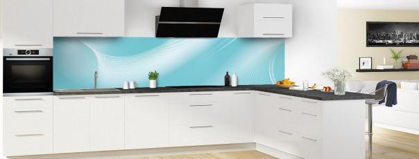 Crédence de cuisine Volute couleur bleu lagon panoramique en perspective