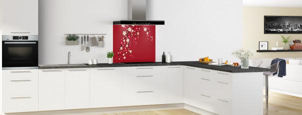 Crédence de cuisine Arbre fleuri couleur rouge carmin fond de hotte motif inversé en perspective