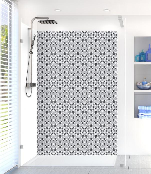 Panneau de douche Hexagones  couleur gris métal