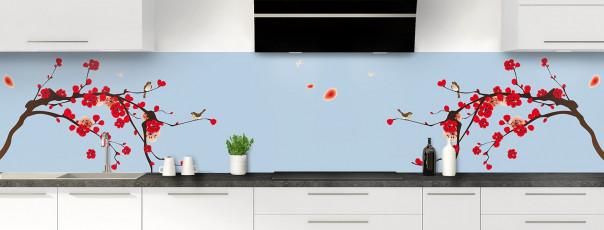 Crédence de cuisine Cerisier japonnais couleur bleu azur panoramique motif inversé