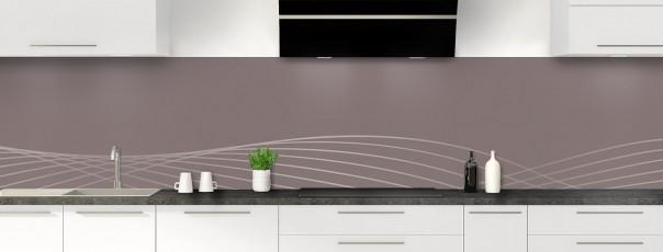 Crédence de cuisine Courbes couleur taupe panoramique motif inversé