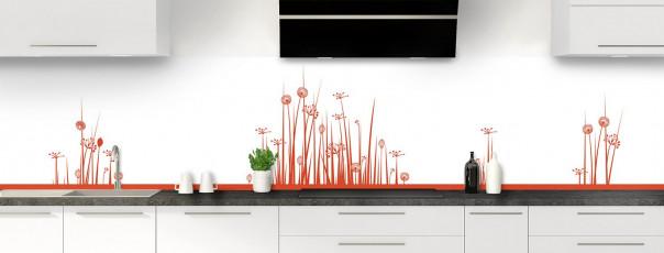 Crédence de cuisine Graminées couleur rouge brique panoramique