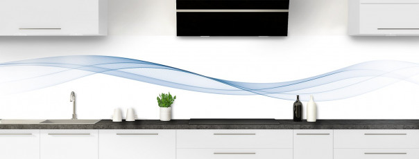 Crédence de cuisine Vague graphique couleur bleu azur panoramique