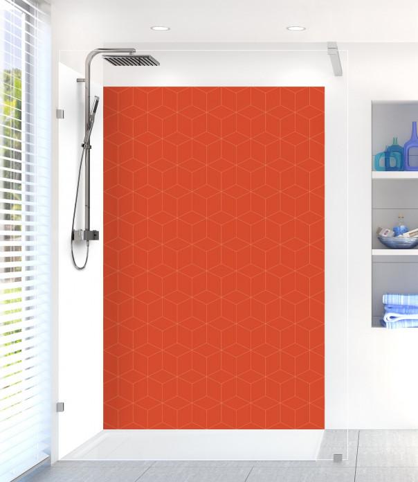 Panneau de douche Cubes en relief couleur rouge brique