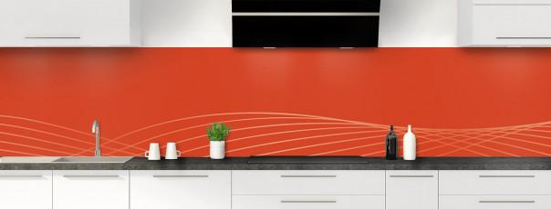 Crédence de cuisine Courbes couleur rouge brique panoramique