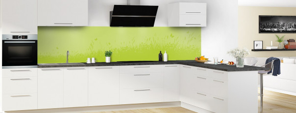Crédence de cuisine Prairie et papillons couleur vert olive panoramique motif inversé en perspective