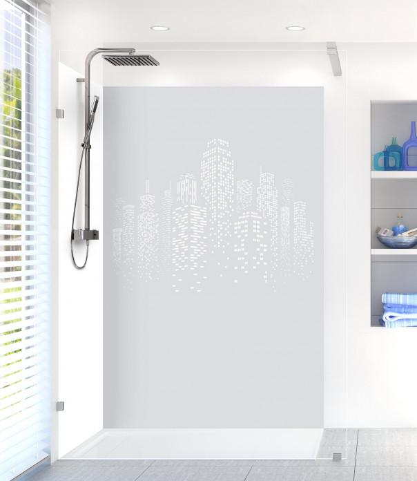 Panneau de douche Gratte-ciels couleur gris clair motif inversé