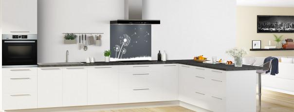 Crédence de cuisine Pissenlit au vent couleur gris carbone fond de hotte en perspective